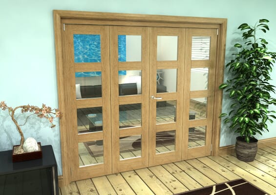 Glazed Oak Prefinished 4 Door 4L Roomfold Grande (2 + 2 x 533mm Doors)