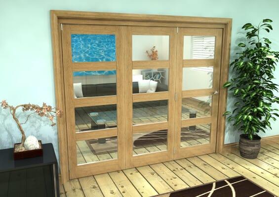 Glazed Oak Prefinished 3 Door 4L Roomfold Grande (3 + 0 x 762mm Doors)
