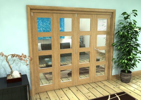 Glazed Oak Prefinished 4 Door 4L Roomfold Grande 2400mm 3 + 1 Set
