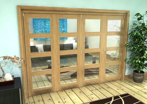 Glazed Oak Prefinished 4 Door 4L Roomfold Grande (3 + 1 x 686mm Doors)