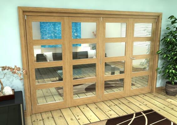 Glazed Oak Prefinished 4 Door 4L Roomfold Grande (3 + 1 x 762mm Doors)