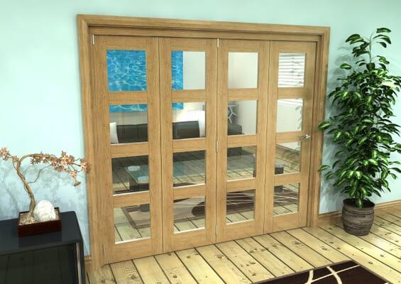 Glazed Oak Prefinished 4 Door 4L Roomfold Grande (4 + 0 x 533mm Doors)