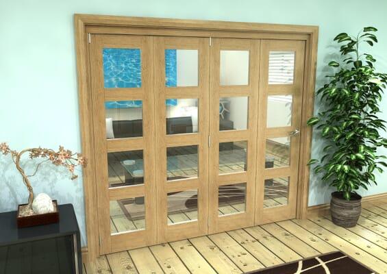 Glazed Oak Prefinished 4 Door 4L Roomfold Grande 2400mm 4 + 0 Set