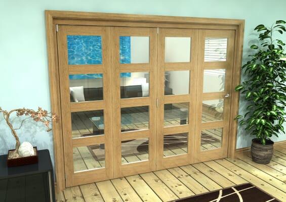 Glazed Oak Prefinished 4 Door 4L Roomfold Grande (4 + 0 x 610mm Doors)