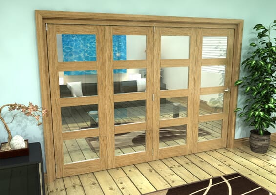 Glazed Oak Prefinished 4 Door 4L Roomfold Grande (4 + 0 x 686mm Doors)