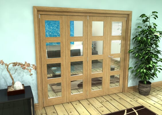 Glazed Oak Prefinished 4 Door 4L Roomfold Grande (4 + 0 x 762mm Doors)