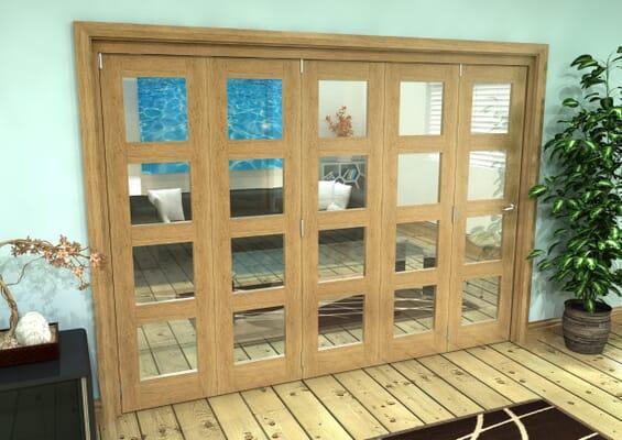 Glazed Oak Prefinished 5 Door 4L Roomfold Grande 3000mm 5 + 0 Set