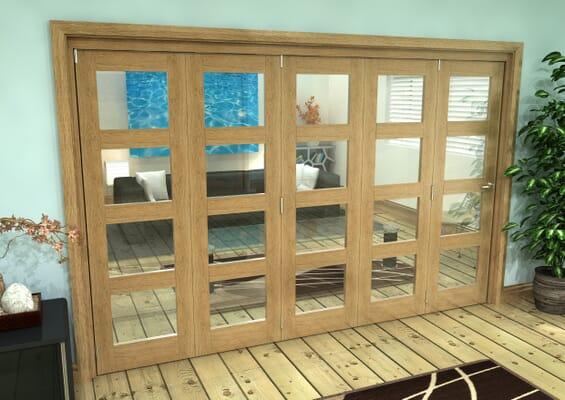 Glazed Oak Prefinished 5 Door 4L Roomfold Grande (5 + 0 x 610mm Doors)
