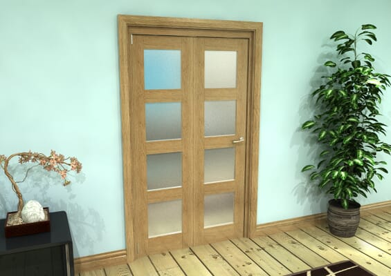 Frosted Glazed Oak Prefinished 2 Door 4L Roomfold Grande (2 + 0 x 533mm Doors)