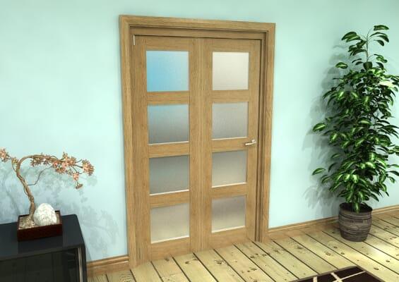 Frosted Glazed Oak Prefinished 2 Door 4L Roomfold Grande (2 + 0 x 573mm Doors)