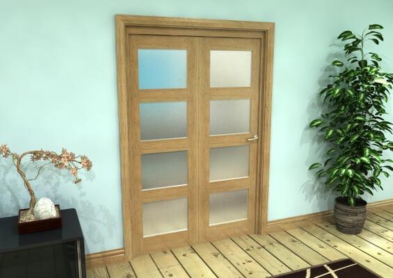 Frosted Glazed Oak Prefinished 2 Door 4L Roomfold Grande (2 + 0 x 610mm Doors)