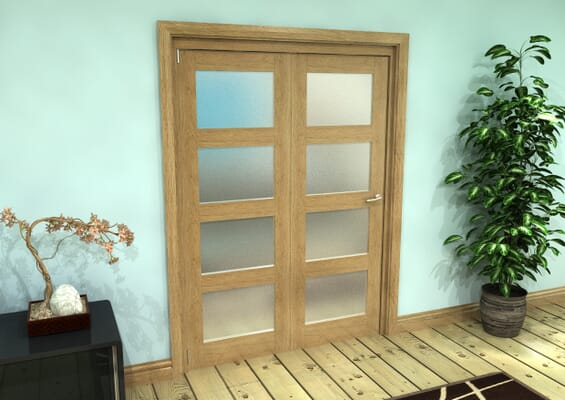 Frosted Glazed Oak Prefinished 2 Door 4L Roomfold Grande (2 + 0 x 762mm Doors)