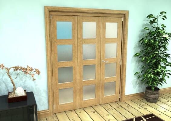 Frosted Glazed Oak Prefinished 3 Door 4L Roomfold Grande (2 + 1 x 533mm Doors)