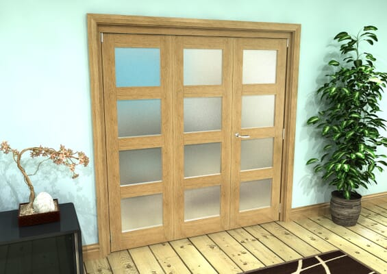 Frosted Glazed Oak Prefinished 3 Door 4L Roomfold Grande (2 + 1 x 610mm Doors)