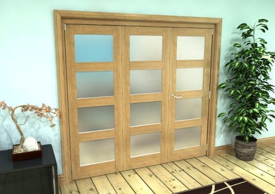 Frosted Glazed Oak Prefinished 3 Door 4L Roomfold Grande (2 + 1 x 686mm Doors)