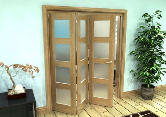 Frosted Glazed Oak Prefinished 3 Door 4L Roomfold Grande (2 + 1 x 762mm Doors)