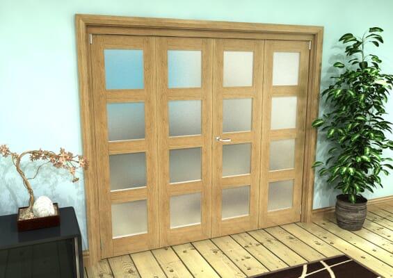 Frosted Glazed Oak Prefinished 4 Door 4L Roomfold Grande 2400mm 2 + 2 Set