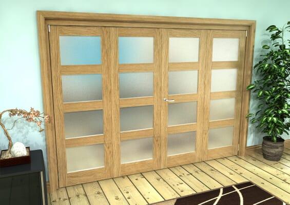 Frosted Glazed Oak Prefinished 4 Door 4L Roomfold Grande (2 + 2 x 610mm Doors)