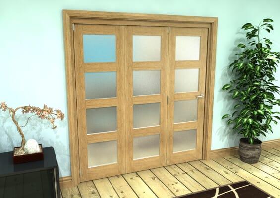 Frosted Glazed Oak Prefinished 3 Door 4L Roomfold Grande (3 + 0 x 610mm Doors)