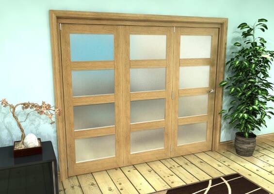 Frosted Glazed Oak Prefinished 3 Door 4L Roomfold Grande (3 + 0 x 762mm Doors)