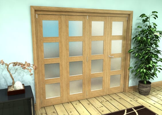Frosted Glazed Oak Prefinished 4 Door 4L Roomfold Grande (3 + 1 x 533mm Doors)