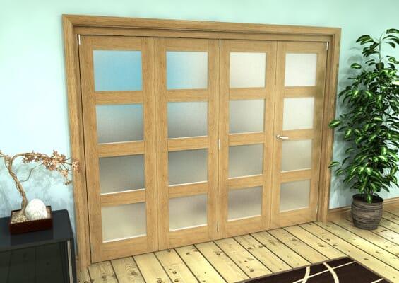 Frosted Glazed Oak Prefinished 4 Door 4L Roomfold Grande 2400mm 3 + 1 Set