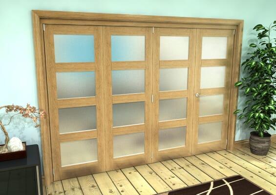 Frosted Glazed Oak Prefinished 4 Door 4L Roomfold Grande (3 + 1 x 686mm Doors)
