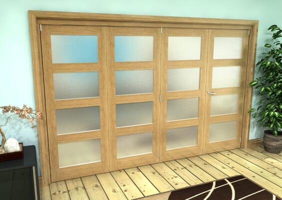 Frosted Glazed Oak Prefinished 4 Door 4L Roomfold Grande (3 + 1 x 762mm Doors)