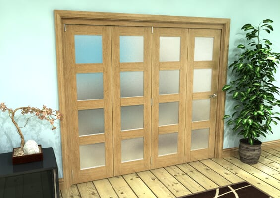 Frosted Glazed Oak Prefinished 4 Door 4L Roomfold Grande (4 + 0 x 533mm Doors)