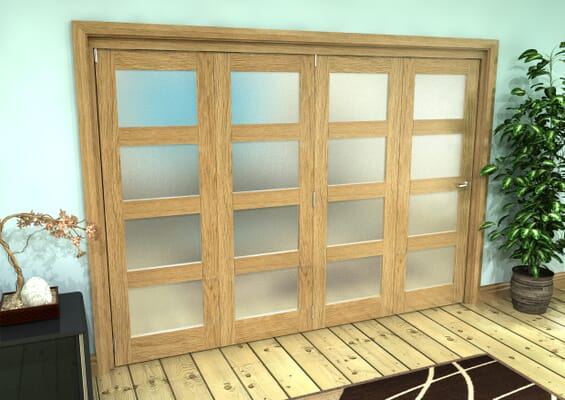 Frosted Glazed Oak Prefinished 4 Door 4L Roomfold Grande (4 + 0 x 686mm Doors)