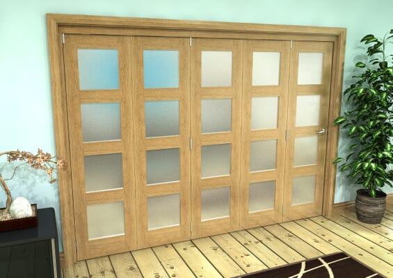 Frosted Glazed Oak Prefinished 5 Door 4L Roomfold Grande 3000mm 5 + 0 Set