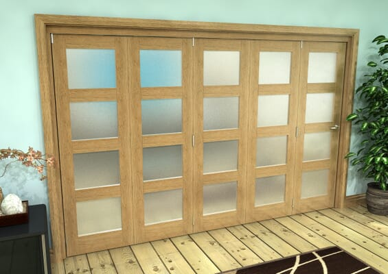 Frosted Glazed Oak Prefinished 5 Door 4L Roomfold Grande (5 + 0 x 686mm Doors)