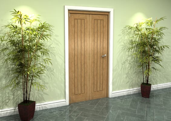 Prefinished Mexicano Oak 2 Door Roomfold Grande (2 + 0 x 457mm Doors)