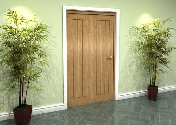 Prefinished Mexicano Oak 2 Door Roomfold Grande (2 + 0 x 533mm Doors)