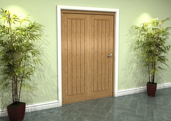 Prefinished Mexicano Oak 2 Door Roomfold Grande (2 + 0 x 610mm Doors)