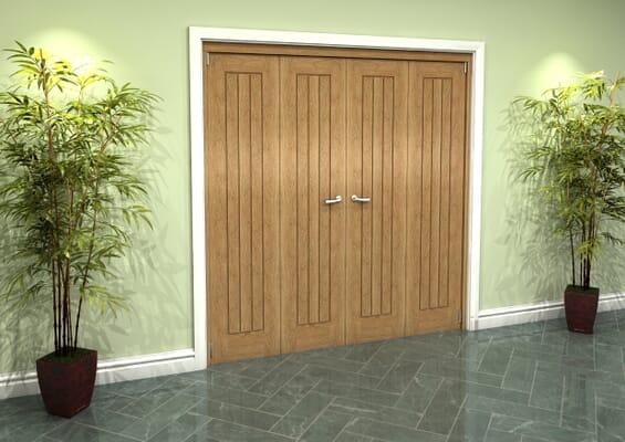 Prefinished Mexicano Oak 4 Door Roomfold Grande (2 + 2 x 457mm Doors)