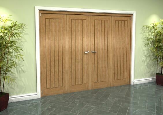 Prefinished Mexicano Oak 4 Door Roomfold Grande (2 + 2 x 610mm Doors)