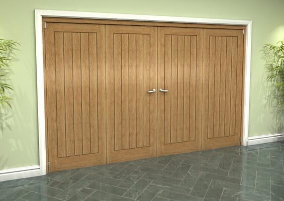 Prefinished Mexicano Oak 4 Door Roomfold Grande (2 + 2 x 762mm Doors)