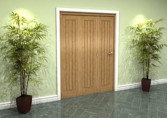 Prefinished Mexicano Oak 3 Door Roomfold Grande (3 + 0 x 457mm Doors)