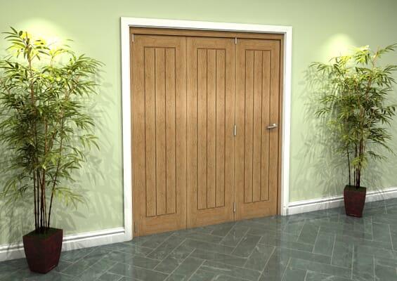 Prefinished Mexicano Oak 3 Door Roomfold Grande (3 + 0 x 533mm Doors)