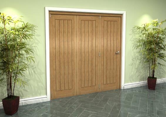 Prefinished Mexicano Oak 3 Door Roomfold Grande (3 + 0 x 610mm Doors)