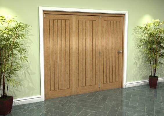 Prefinished Mexicano Oak 3 Door Roomfold Grande (3 + 0 x 686mm Doors)