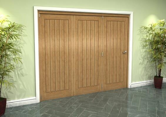 Prefinished Mexicano Oak 3 Door Roomfold Grande (3 + 0 x 762mm Doors)