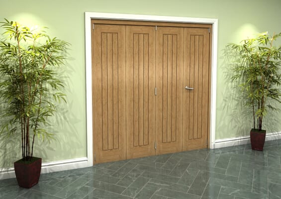 Prefinished Mexicano Oak 4 Door Roomfold Grande (3 + 1 x 457mm Doors)