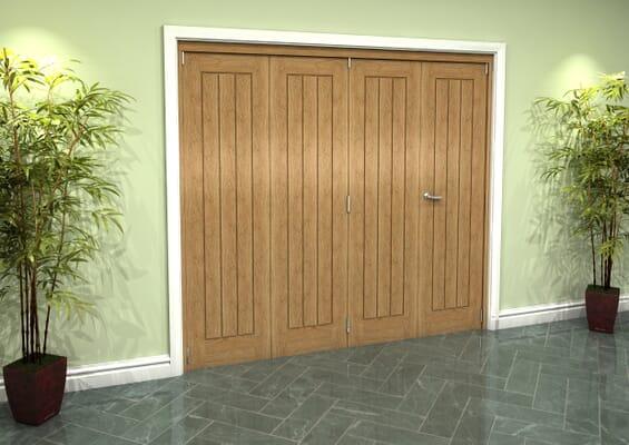 Prefinished Mexicano Oak 4 Door Roomfold Grande (3 + 1 x 533mm Doors)