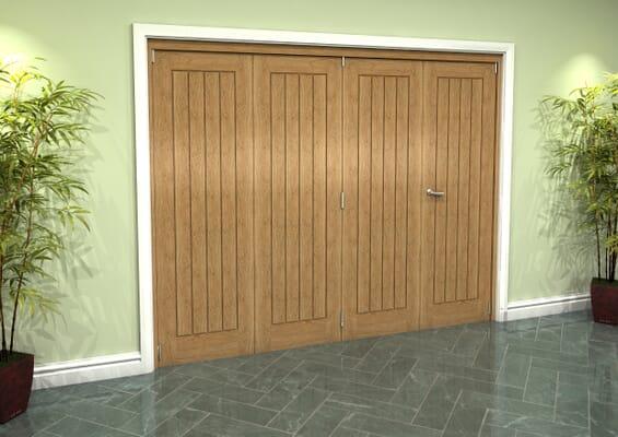 Prefinished Mexicano Oak 4 Door Roomfold Grande (3 + 1 x 610mm Doors)