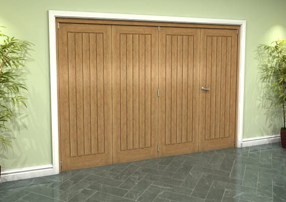 Prefinished Mexicano Oak 4 Door Roomfold Grande (3 + 1 x 686mm Doors)