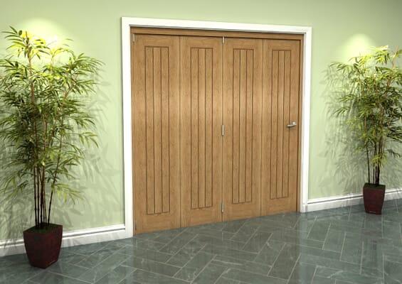 Prefinished Mexicano Oak 4 Door Roomfold Grande (4 + 0 x 457mm Doors)