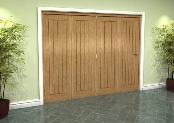 Prefinished Mexicano Oak 4 Door Roomfold Grande (4 + 0 x 610mm Doors)