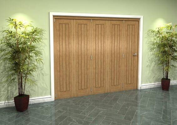 Prefinished Mexicano Oak 5 Door Roomfold Grande (5 + 0 x 457mm Doors)
